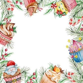 Акварельная новогодняя рамка с зимними ветвями и рождественскими тортами.