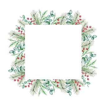 冬のモミと松の枝、ベリーとユーカリの枝と水彩のクリスマスフレーム。