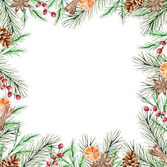 冬のモミと松の枝、ベリー、シナモン、オレンジスライス、アニスの水彩画のクリスマスフレーム。