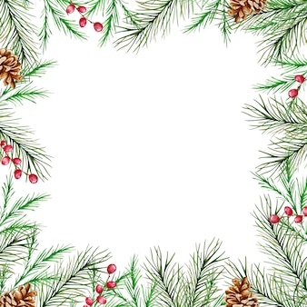 Watercolor christmas frame with winter fir and pine branches, berries and pine cones.