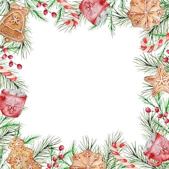 Акварельная новогодняя рамка с зимними еловыми и сосновыми ветками, ягодами, красной кружкой, конфетами и имбирными пряниками.