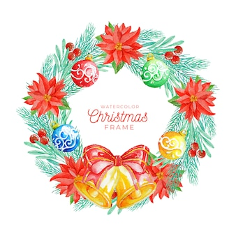 Watercolor christmas frame