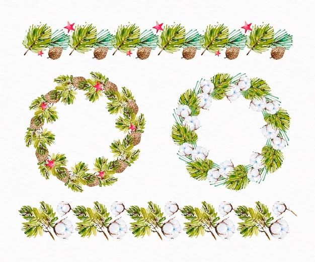 수채화 크리스마스 프레임 및 테두리 컬렉션