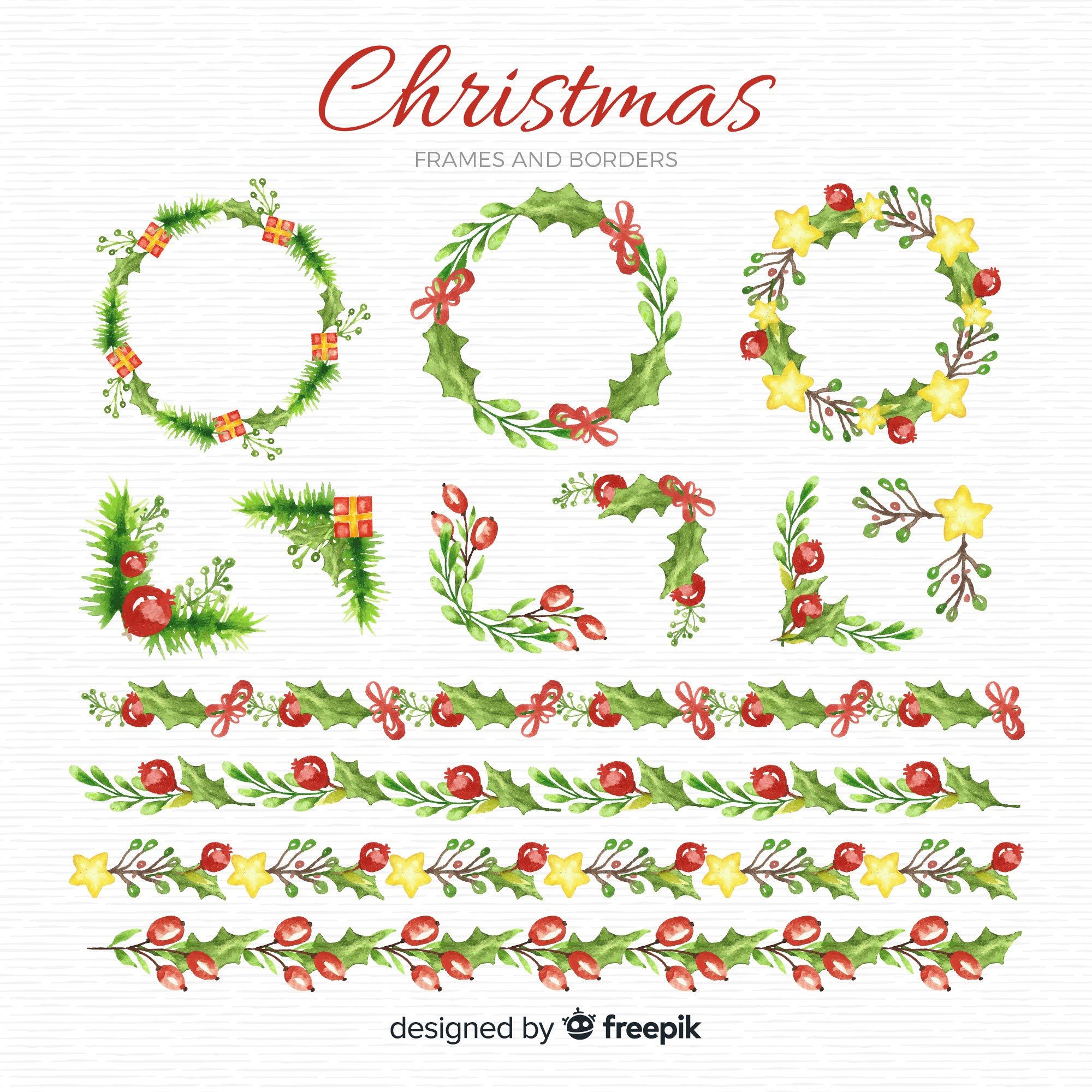 Watercolor christmas frames and borders pack