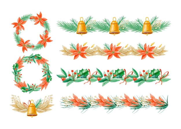 水彩のクリスマスフレームとボーダーパック
