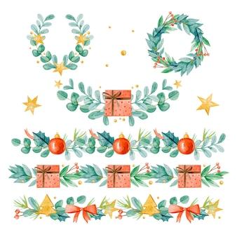 水彩のクリスマスフレームとボーダーセット