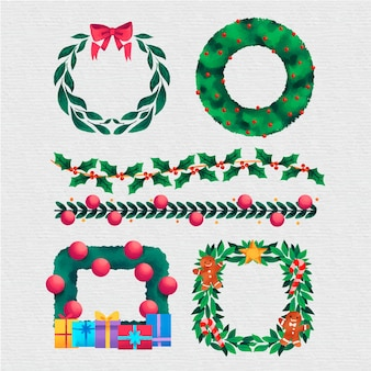 水彩のクリスマスフレームとボーダー