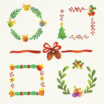 수채화 크리스마스 프레임 및 테두리