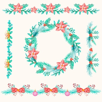 Акварельные рождественские рамки и бордюры