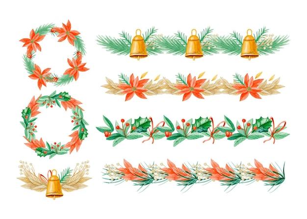 Confezione di cornici e bordi natalizi dell'acquerello
