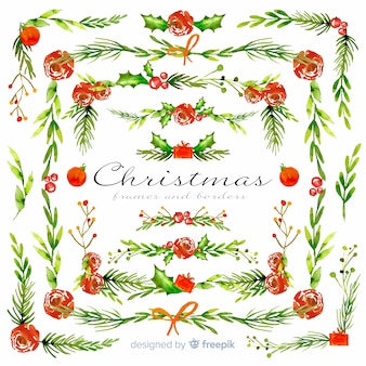 Watercolor christmas frames and borders