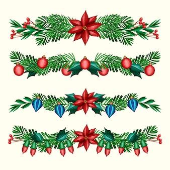 Watercolor christmas frames and borders