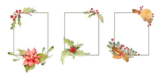花とベリーの水彩画のクリスマスフレーム