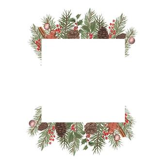 Акварель рождественские рамки