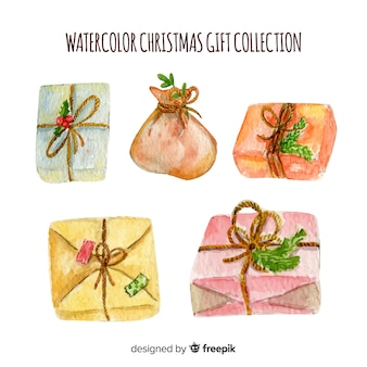 Watercolor christmas gift box collection