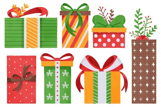 Collezione di regali di natale dell'acquerello