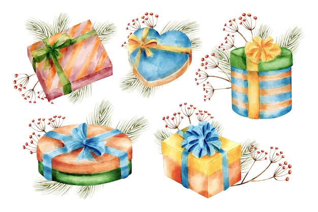 Watercolor christmas gift collection