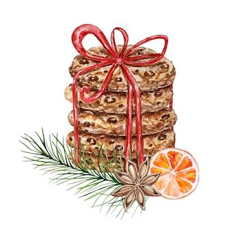 Акварельные рождественские пряники с шоколадной крошкой, перевязанные красной лентой с бантом, украшенные веткой сосны, долькой апельсина и звездчатым анисом. акварельные иллюстрации