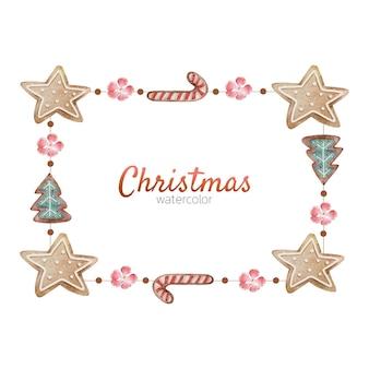 水彩画のクリスマスジンジャーブレッドリース