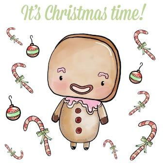 Watercolor christmas gingerbread