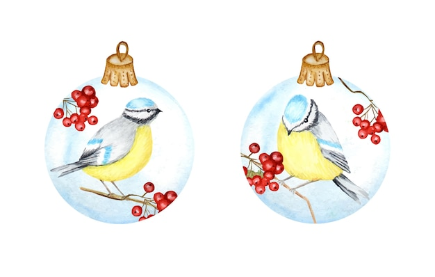 Watercolor christmas glass ball set with branch and winter bird blue tit.