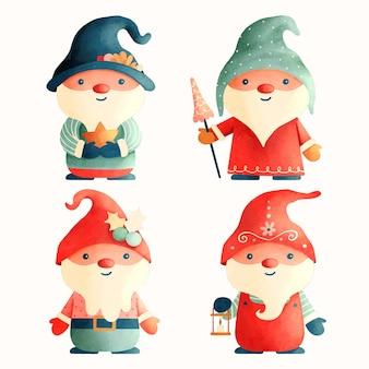 Коллекция акварельных рождественских гномов