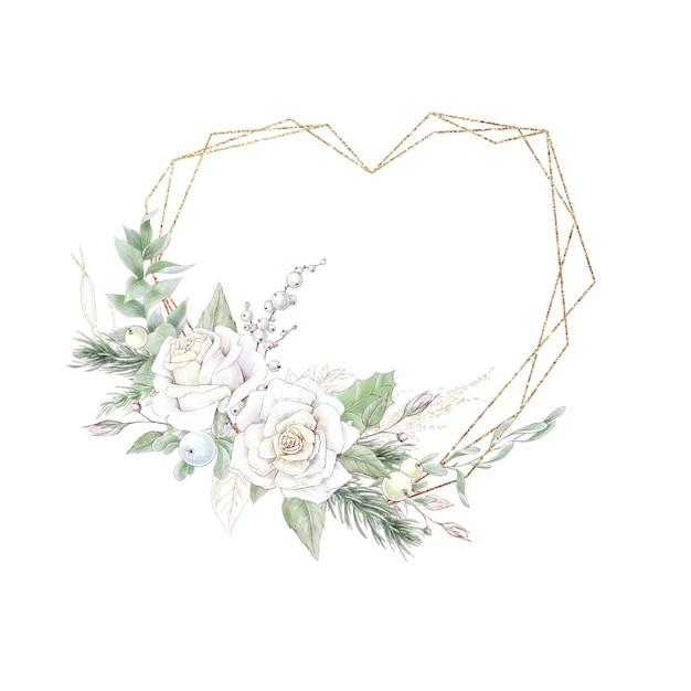 花のバラとポインセチアと水彩のクリスマスゴールデンフレーム