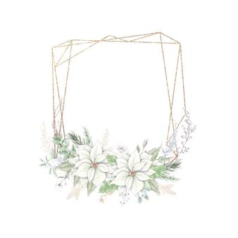 Акварельные рождественские золотые рамки с цветами роз и пуансеттия