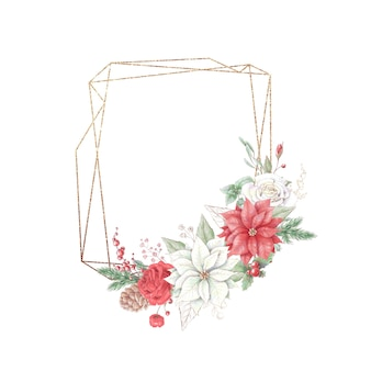 Watercolor christmas golden frames with flowers roses and poinsettia