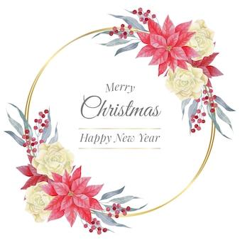 Акварельная рождественская золотая круглая рамка с розами и пуансеттия