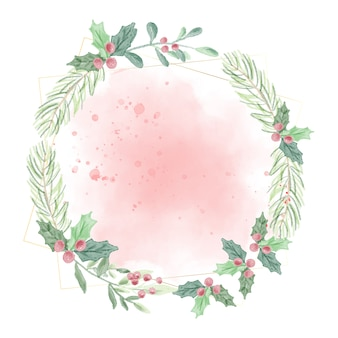 Watercolor christmas green leafs on red splash background wreath