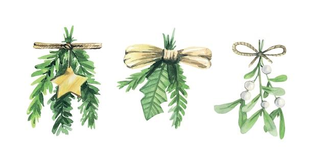 水彩のクリスマスの緑の花束