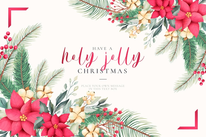 Watercolor christmas greeting card with lovely nature