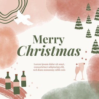 Watercolor christmas holiday posts for social media advertising marketing and promotion