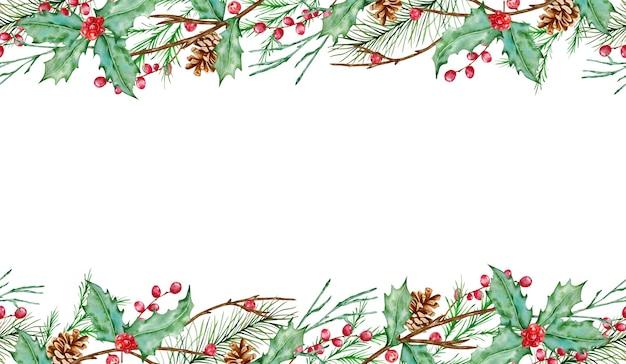 Акварельная рождественская горизонтальная бесшовная композиция с еловыми ветками, ягодами падуба, елью и сосновыми шишками