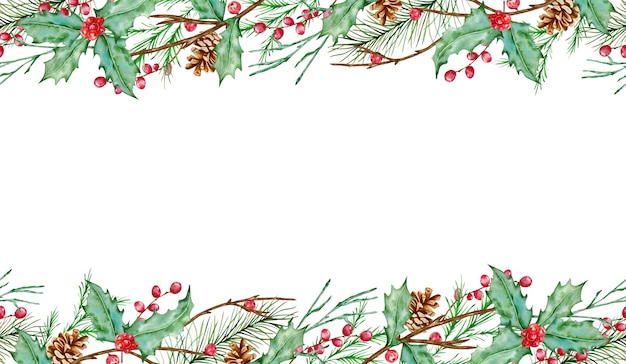 Watercolor christmas  horizontal seamless composition with fir branches, holly berries, fir and pine cones