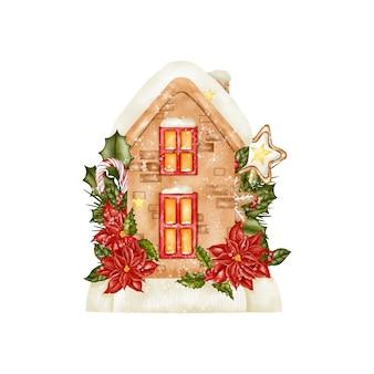 水彩のクリスマスハウス