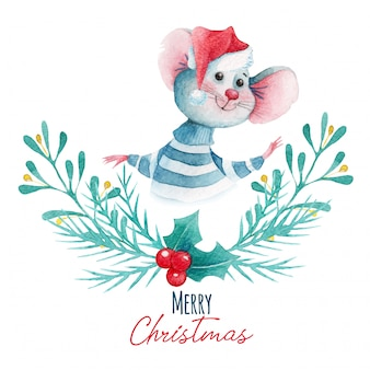 Watercolor christmas illustration of cartoon mouse and decoration elements