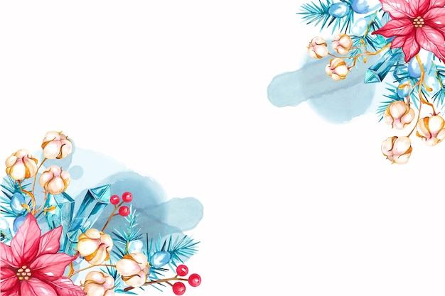クリスタルとポインセチアの花と水彩のクリスマスイラスト