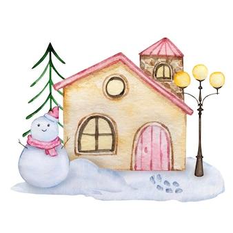 흰색 바탕에 집과 크리스마스 트리와 눈사람이 있는 수채화 크리스마스 그림