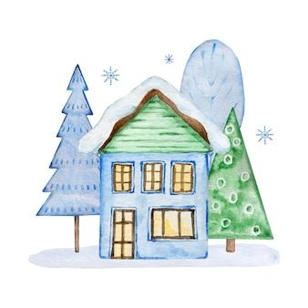 집과 흰색 배경에 고립 된 크리스마스 트리 수채화 크리스마스 그림