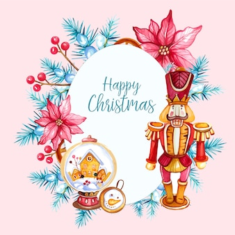 Watercolor christmas illustration with nutcracker