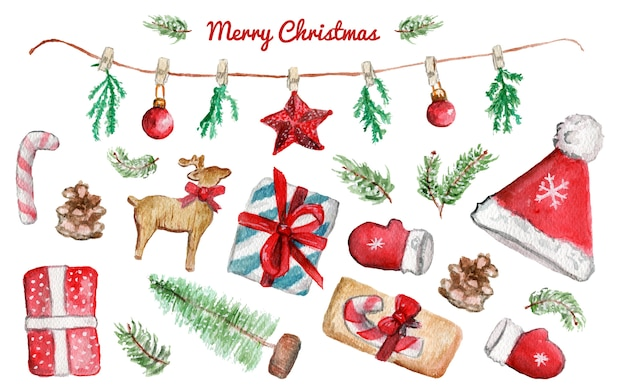 Watercolor christmas illustrations set with christmas tree, stars, garland, candy and gifts on white