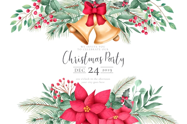 Watercolor christmas invitation with ornaments Free Vector