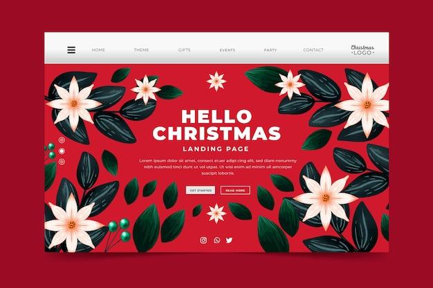 Акварельный рождественский шаблон целевой страницы с цветами