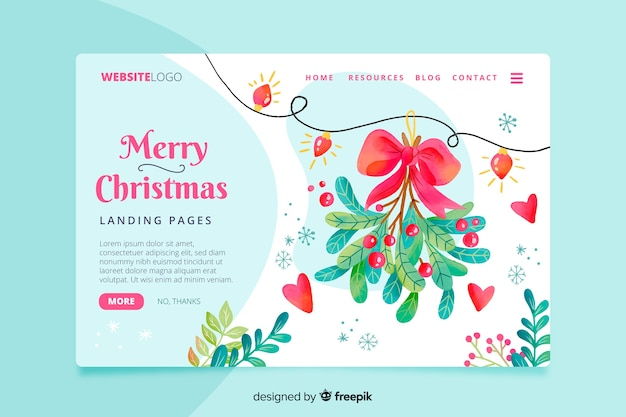 Watercolor christmas landing page