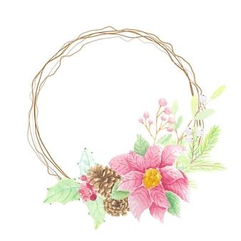 松ぼっくりとコピースペースの乾燥した小枝の花輪フレームと水彩のクリスマスの葉ポインセチアの花