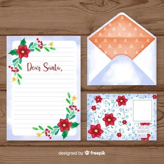 水彩クリスマスレターと封筒のテンプレート