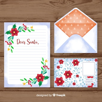 Watercolor christmas letter and envelope template