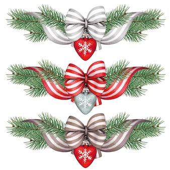 Watercolor christmas line divider decoration